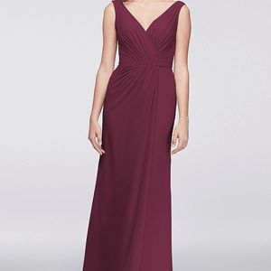 David's Bridal pleated chiffon dress WINE